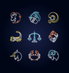 Astrology signs neon light icons set vector