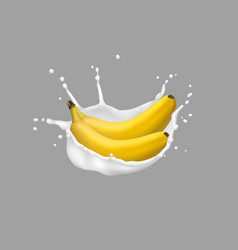 banana and milk splash 3d style vector image