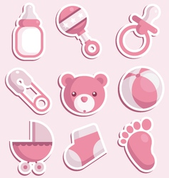 Bashower pink icons vector