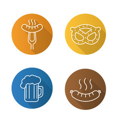 Beer snacks flat linear long shadow icons set vector