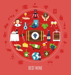 best wine flat concept vector image
