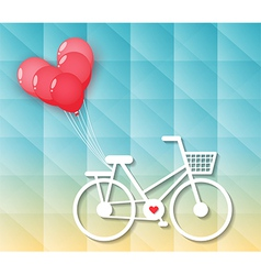 Bicycle with red heart balloons vector
