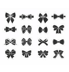 Black Decorative Bows Icons Set vector image