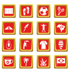 brazil travel symbols icons set red vector image