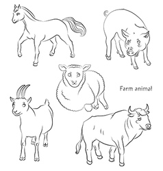 bull goat horse pig sheep vector image