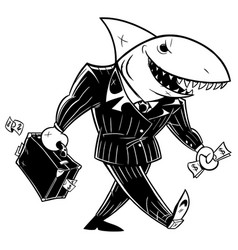Business shark dark suit line art vector