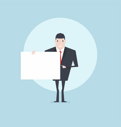businessman holding a blank sheet and pointing vector image
