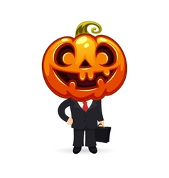 Businessman With Pumpkin on a Head vector image