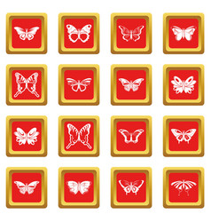 Butterfly collection icons set red square vector