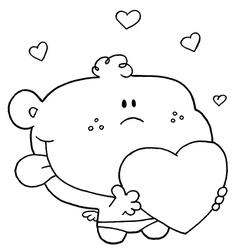 Cartoon baby with heart vector