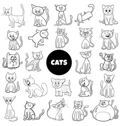 Cartoon cat characters large set color book page vector