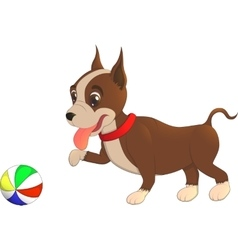 Cartoon character bulldog puppy playing with a vector image