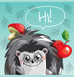 cartoon hedgehog hi vector image
