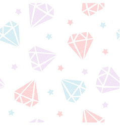 childish seamless pattern with diamonds and stars vector image