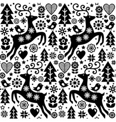 christmas folk style seamless pattern scan vector image