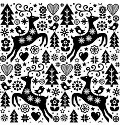 Christmas folk style seamless pattern scan vector