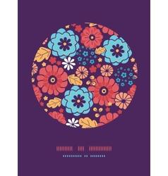 Colorful bouquet flowers circle decor pattern vector image