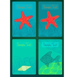Colorful cards with marine life vector image