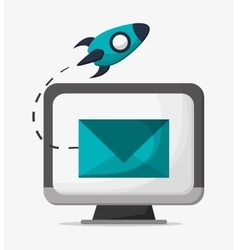 Computer and social media design vector