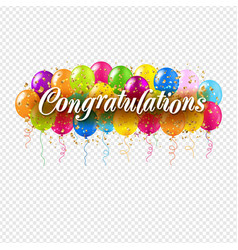 Congratulations card and colorful balloons vector