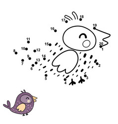 connect dots draw and color a funny bird vector image