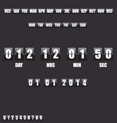Countdown Timer and Date on black background vector