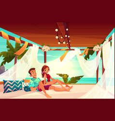 couple relaxing in terrace on beach cartoon vector image