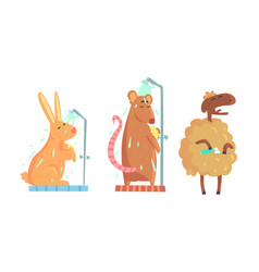 Cute animals bathing set hygiene and care vector