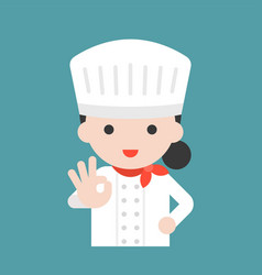 Cute chef with hand okay sign flat design vector
