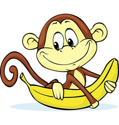 Cute monkey hold banana - vector