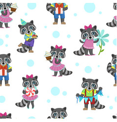 cute raccoon animal with birthday cake seamless vector image