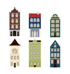 Cute retro houses exterior set collection of vector