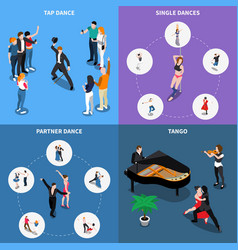 Dances isometric design concept vector