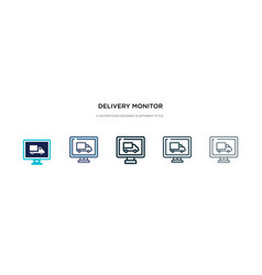 Delivery monitor icon in different style two vector