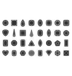 Diamond gem jewel stone silhouette icon set vector