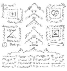 Doodle floral corners line vector