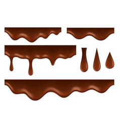 dripping chocolate liquid syrup foods delicious vector image