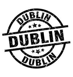 dublin black round grunge stamp vector image