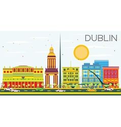 Dublin Skyline with Color Buildings and Blue Sky vector image