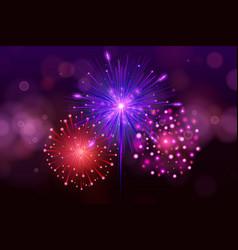 Festive colorful fireworks on black background vector