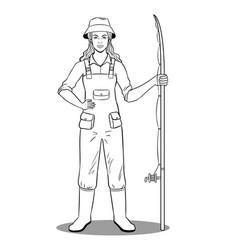 Fisherman girl coloring book vector