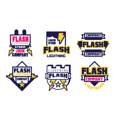 flash lightning logo templates collection vector image