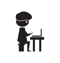 Flat icon in black and white programmer vector