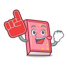 Foam finger diary mascot cartoon style vector