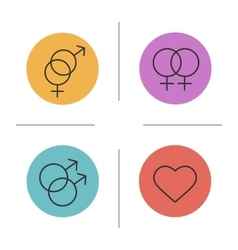 Gender symbols color icons set vector