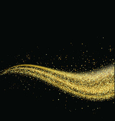 Gold glitter dust trail glittering particles on a vector