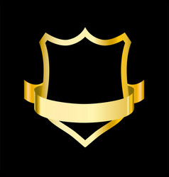 golden shield with ribbon for vector image