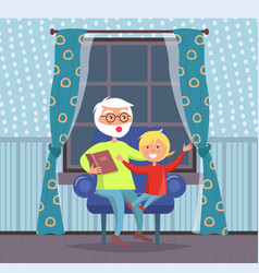 Grandparent and grandson in evening night at home vector