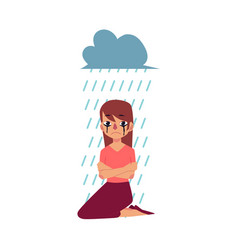 Grief depression - woman sitting under rain cloud vector