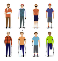Group of eight different kind disability people vector